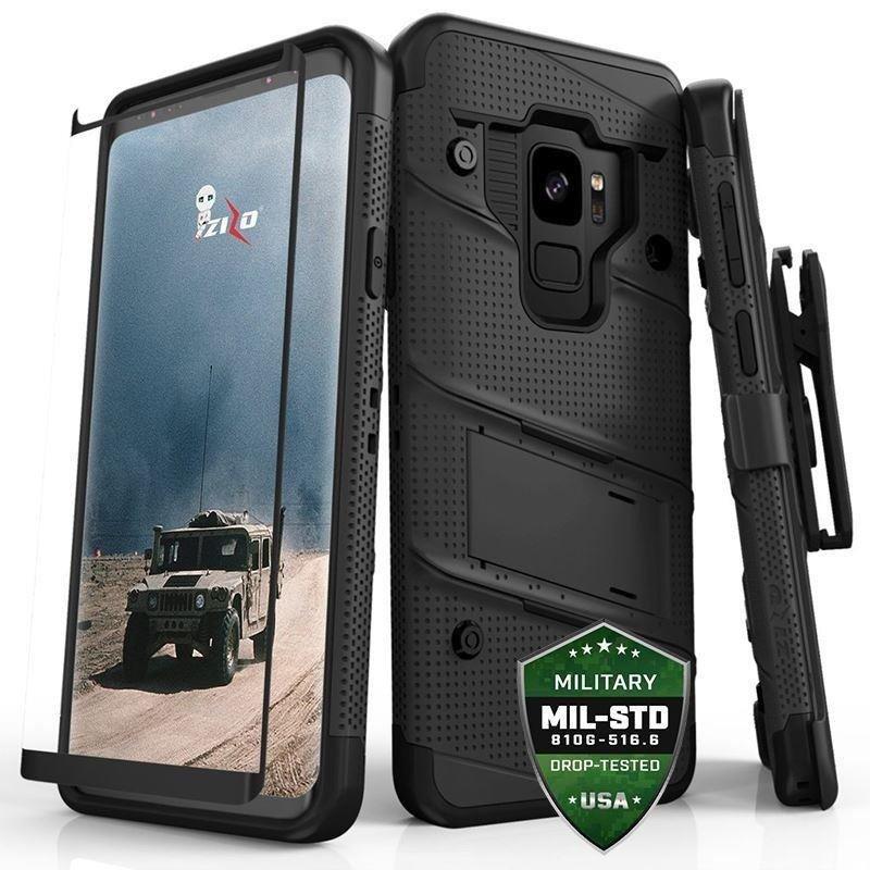 Zizo Bolt Cover - Pancerne etui Samsung Galaxy S9 ze szkłem 9H na ekran + podstawka & uchwyt do paska (Black/Black)