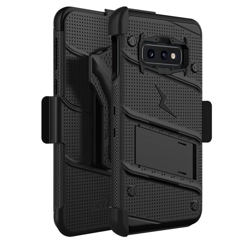 Zizo Bolt Cover - Pancerne etui Samsung Galaxy S10e ze szkłem 9H na ekran + podstawka & uchwyt do paska (Black/Black)