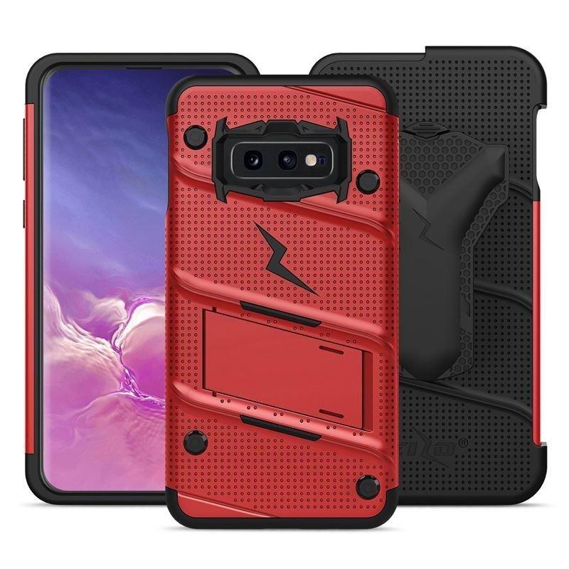 Zizo Bolt Cover - Pancerne etui Samsung Galaxy S10e ze szkłem 9H na ekran + podstawka & uchwyt do paska (Red/Black)
