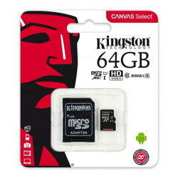 KARTA MICROSD KINGSTON 64GB CANVAS SELECT + ADAPTER SD