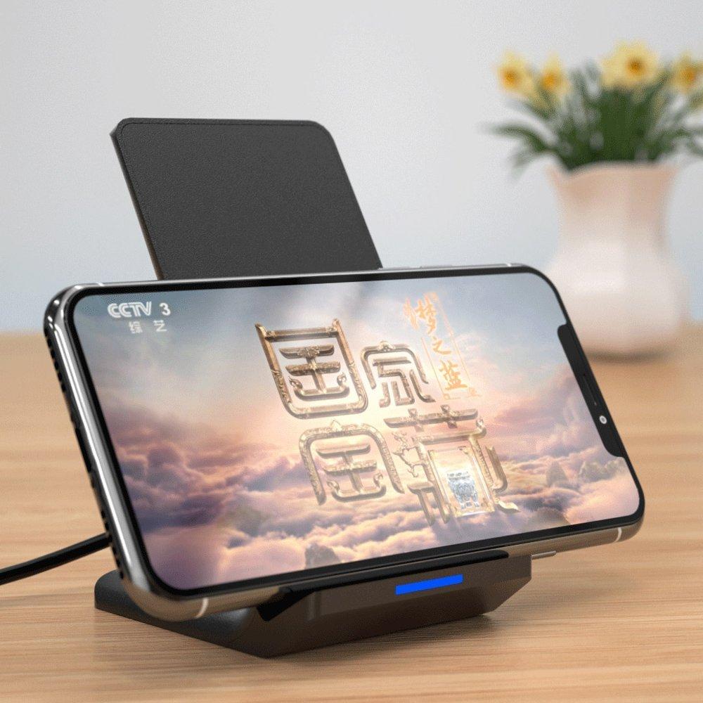 WK Design bezprzewodowa ładowarka Qi 10W podstawka na telefon + kabel micro USB czarny (WP U84 black)